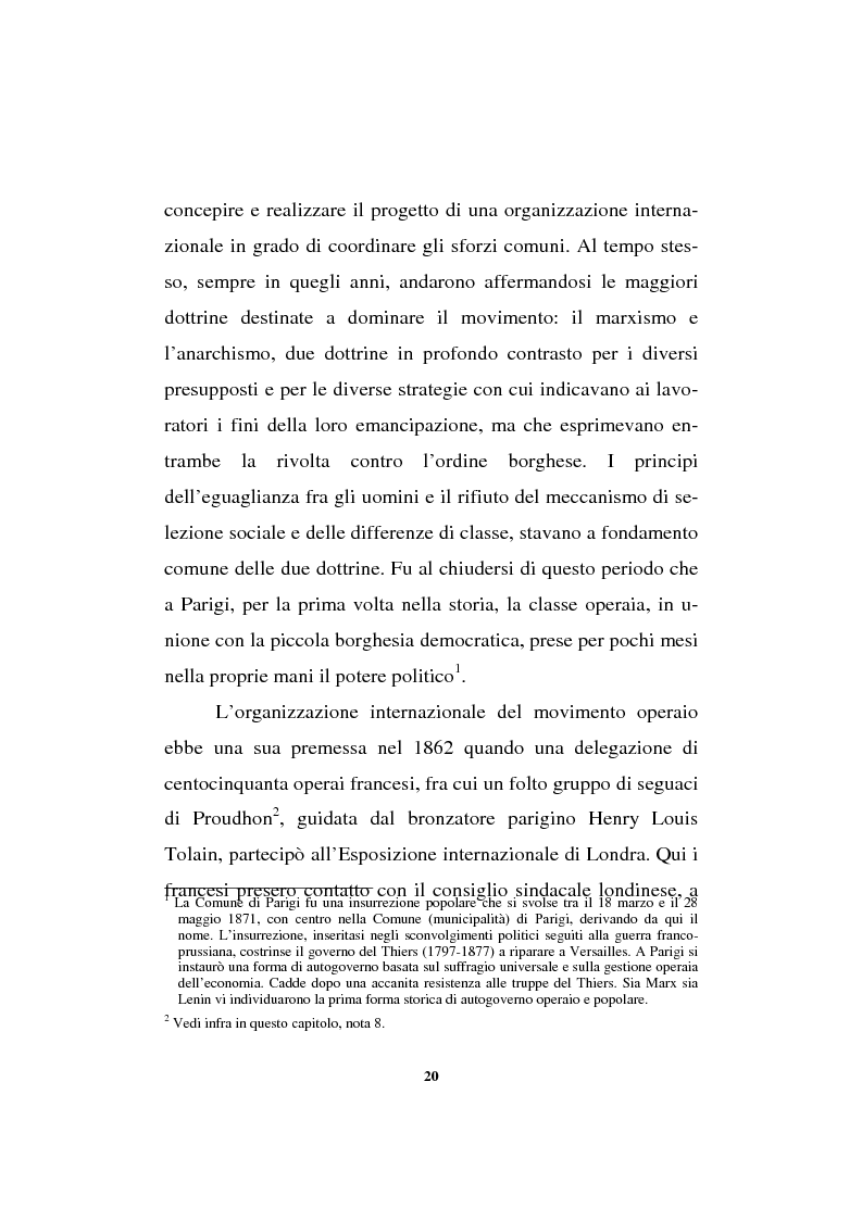 Anteprima della tesi: Il sindacalismo europeo. Dalle premesse storiche alla Confederazione europea dei sindacati., Pagina 8
