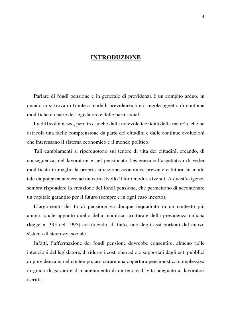 Anteprima della tesi: Autonomia collettiva e fondi pensione, Pagina 1