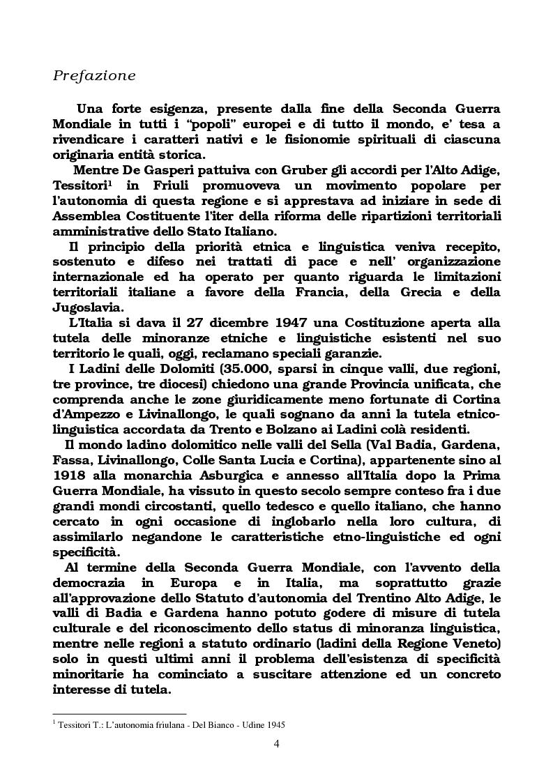 Anteprima della tesi: Comunità ladina di Cortina: popolo d'Europa tra appartenenza giuridica e aspirazioni culturali, Pagina 1