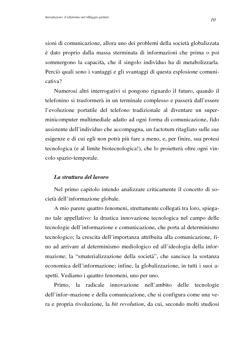 Anteprima della tesi: A spasso col mondo. Le telecomunicazioni mobili nella società dell'informazione globale. Il caso TIM., Pagina 10