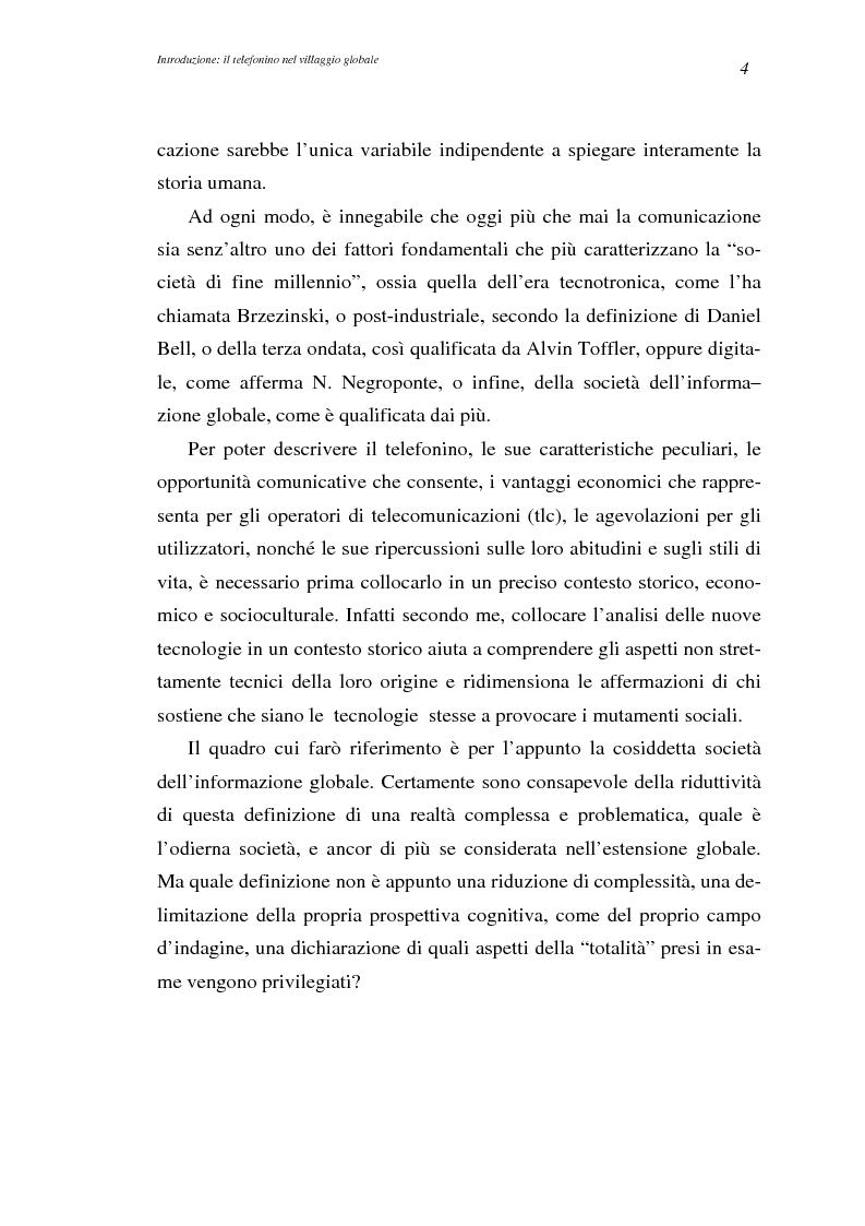 Anteprima della tesi: A spasso col mondo. Le telecomunicazioni mobili nella società dell'informazione globale. Il caso TIM., Pagina 4