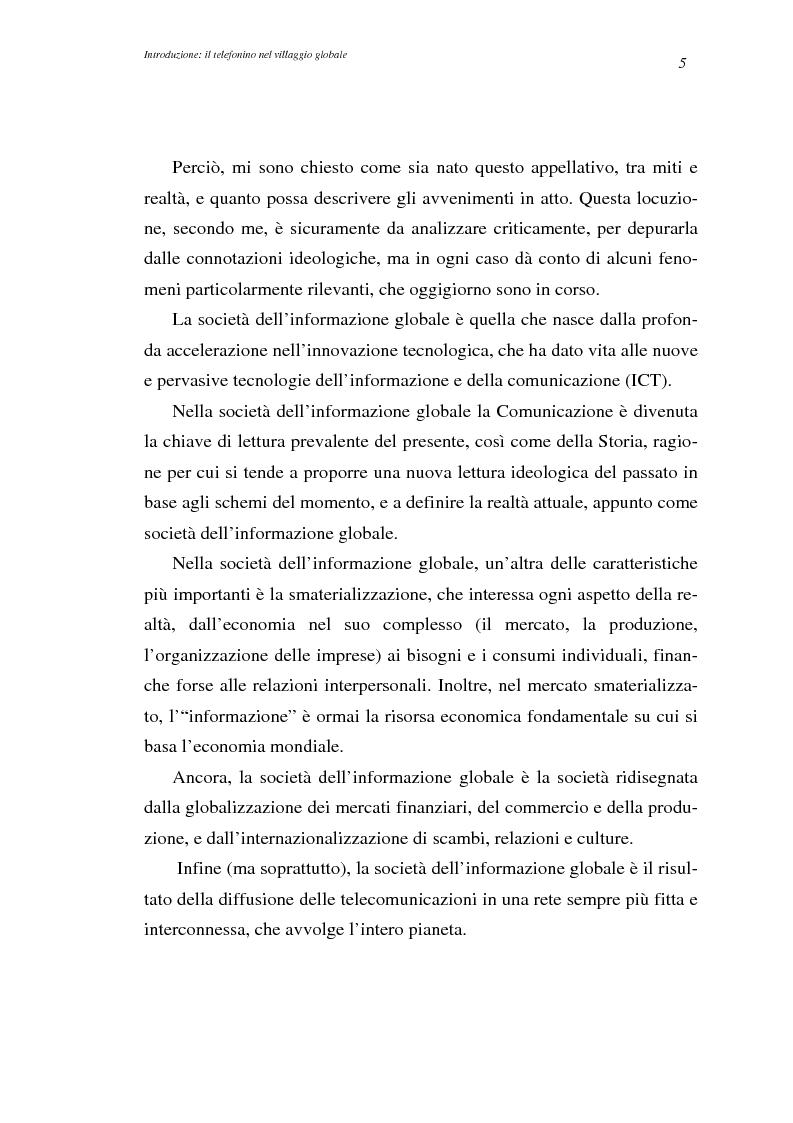 Anteprima della tesi: A spasso col mondo. Le telecomunicazioni mobili nella società dell'informazione globale. Il caso TIM., Pagina 5