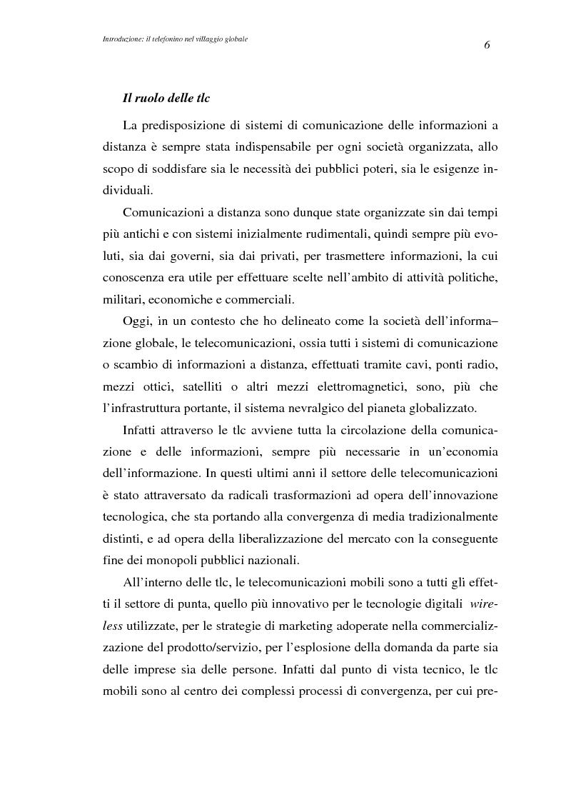 Anteprima della tesi: A spasso col mondo. Le telecomunicazioni mobili nella società dell'informazione globale. Il caso TIM., Pagina 6