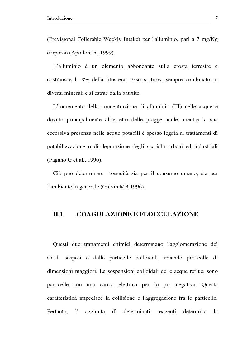 Anteprima della tesi: Trattamento dei reflui urbani mediante coagulazione/flocculazione con sali di alluminio: efficienza del metodo ed evidenze ecotossicologiche, Pagina 5