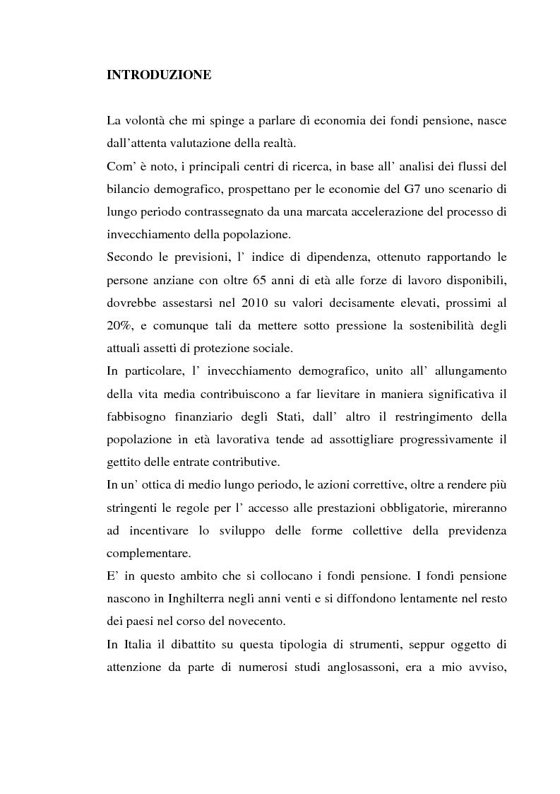 Fondi pensione: asset allocation, rischi e performance - Tesi di Laurea