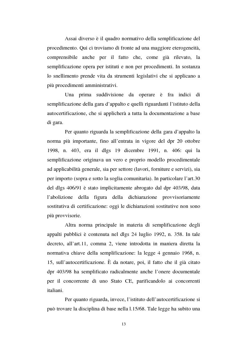 Anteprima della tesi: La semplificazione del procedimento di pubblico appalto, Pagina 8