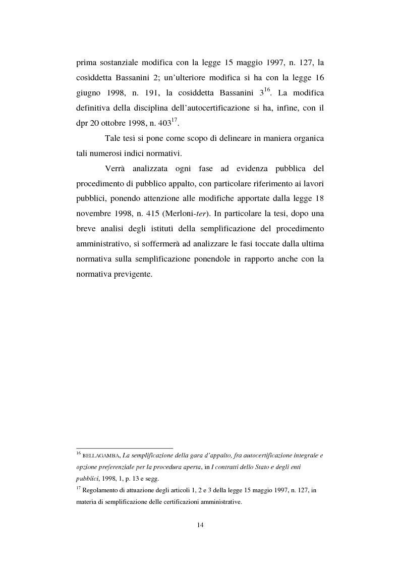 Anteprima della tesi: La semplificazione del procedimento di pubblico appalto, Pagina 9