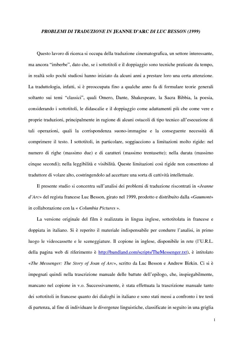 Anteprima della tesi: Problemi di traduzione in ''Jeanne D'Arc'' di Luc Besson (1999), Pagina 1