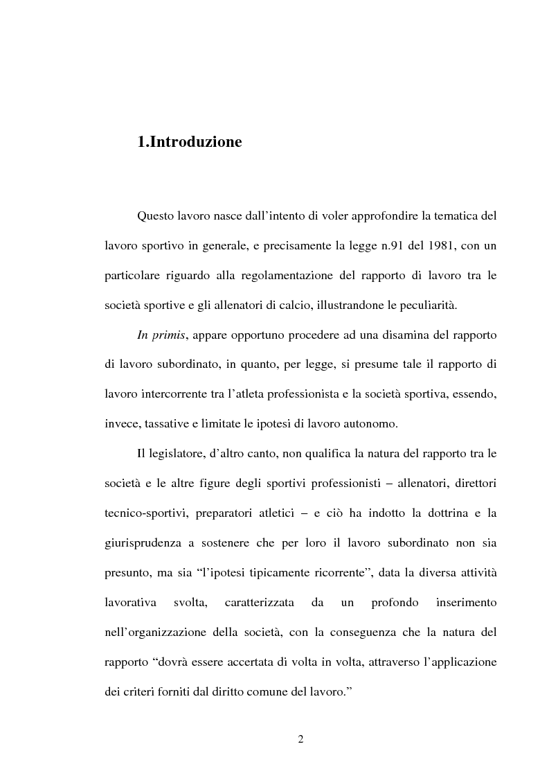 Il contratto di lavoro sportivo degli allenatori professionisti - Tesi di Laurea