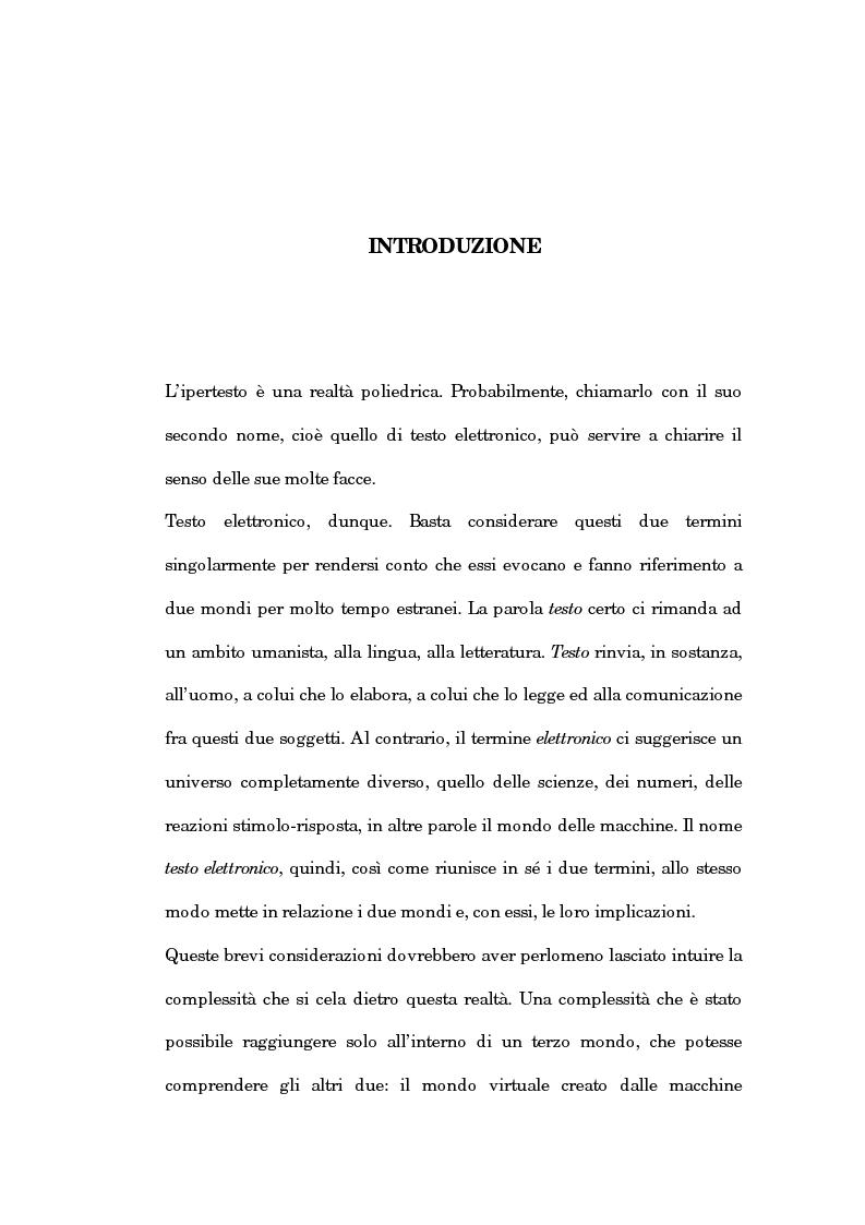 Anteprima della tesi: Un'analisi linguistica dello spazio ipertestuale, Pagina 1