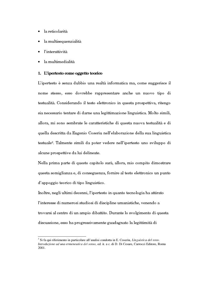 Anteprima della tesi: Un'analisi linguistica dello spazio ipertestuale, Pagina 11