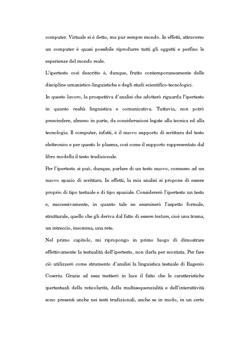 Anteprima della tesi: Un'analisi linguistica dello spazio ipertestuale, Pagina 2