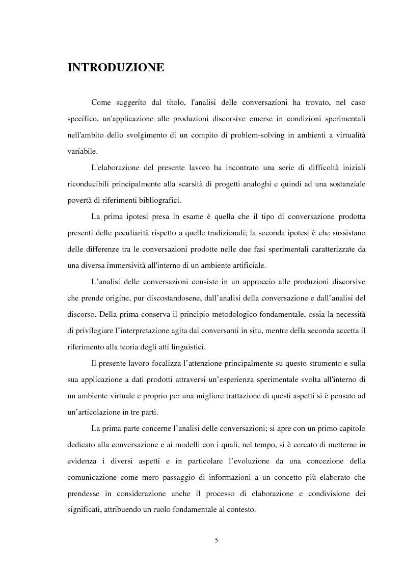 Anteprima della tesi: Analisi delle conversazioni di interazione in ambienti virtuali, Pagina 1