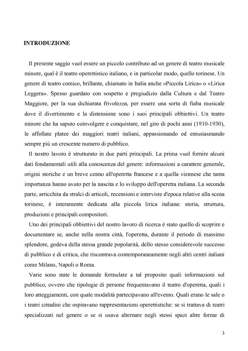 Anteprima della tesi: Torino: la stampa racconta l'operetta, Pagina 1