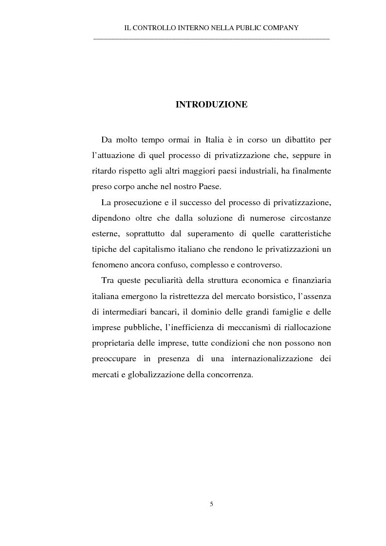 Anteprima della tesi: Il controllo interno nella public company, Pagina 1