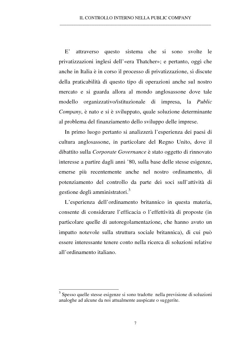 Anteprima della tesi: Il controllo interno nella public company, Pagina 3