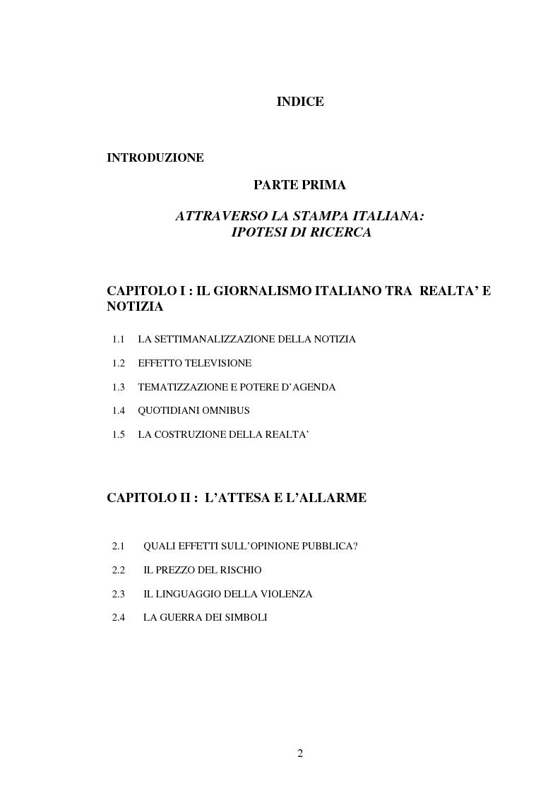 Indice della tesi: L'attesa mediatica: il G8 di Genova nella stampa italiana, Pagina 1