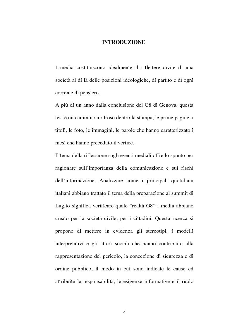 Anteprima della tesi: L'attesa mediatica: il G8 di Genova nella stampa italiana, Pagina 1