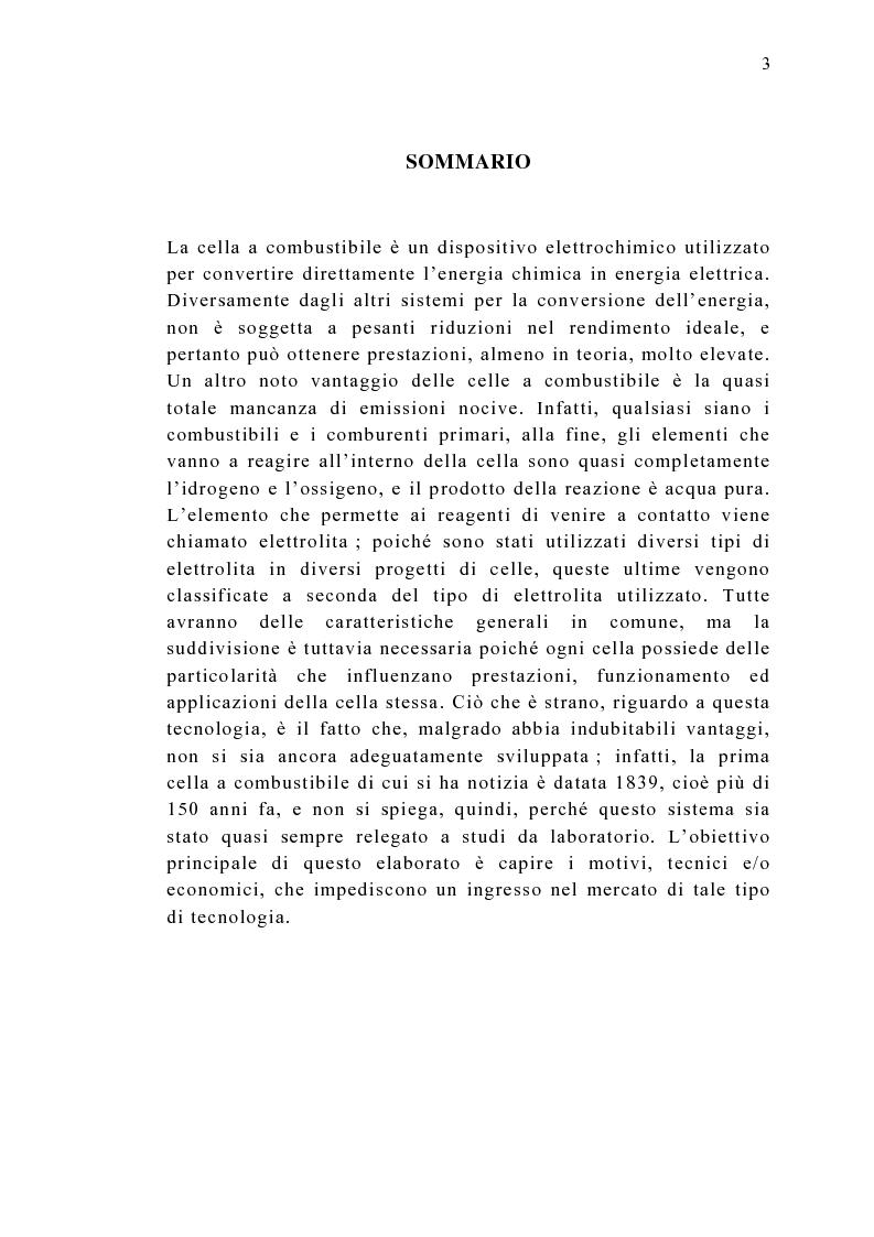 Anteprima della tesi: Le celle a combustibile: analisi tecnico-economica, Pagina 1