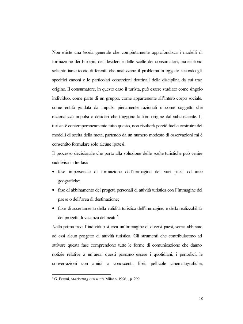 Anteprima della tesi: Procedure e caratteristiche della scelta della vacanza organizzata. Fonti di informazione e attribuzione di senso., Pagina 10