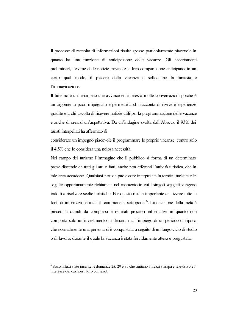 Anteprima della tesi: Procedure e caratteristiche della scelta della vacanza organizzata. Fonti di informazione e attribuzione di senso., Pagina 12