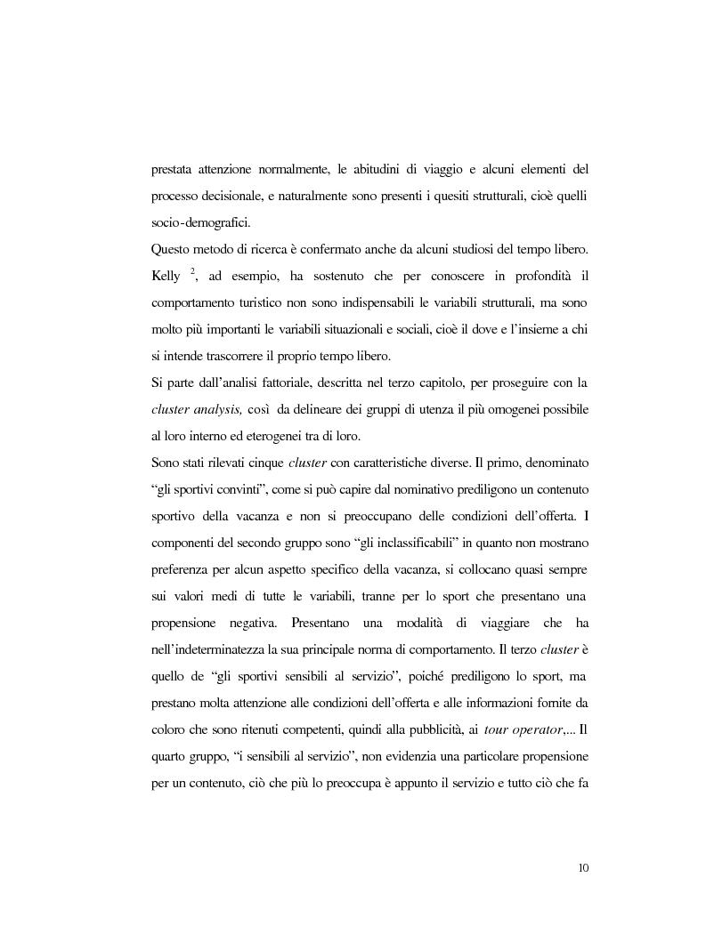 Anteprima della tesi: Procedure e caratteristiche della scelta della vacanza organizzata. Fonti di informazione e attribuzione di senso., Pagina 2