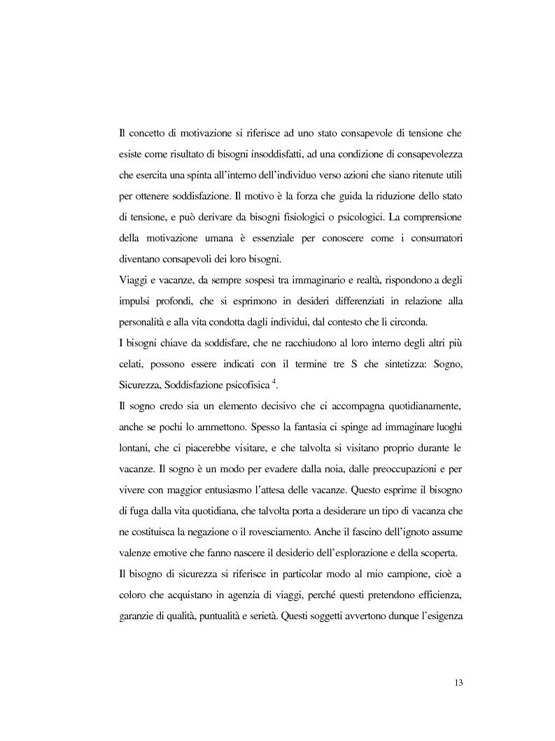 Anteprima della tesi: Procedure e caratteristiche della scelta della vacanza organizzata. Fonti di informazione e attribuzione di senso., Pagina 5