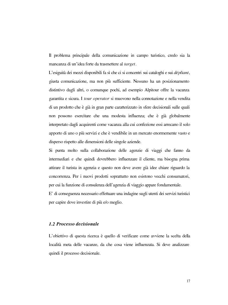 Anteprima della tesi: Procedure e caratteristiche della scelta della vacanza organizzata. Fonti di informazione e attribuzione di senso., Pagina 9