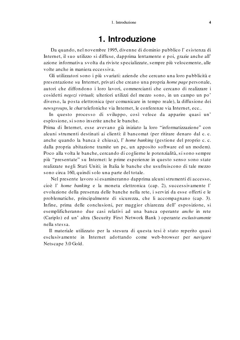 Anteprima della tesi: L'home banking e la presenza delle banche in Internet, Pagina 1