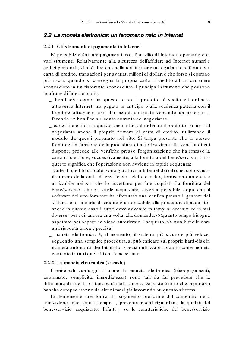 Anteprima della tesi: L'home banking e la presenza delle banche in Internet, Pagina 5