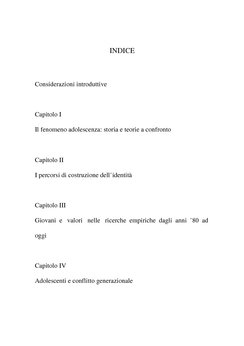 Indice della tesi: Giovani e generazioni, Pagina 1