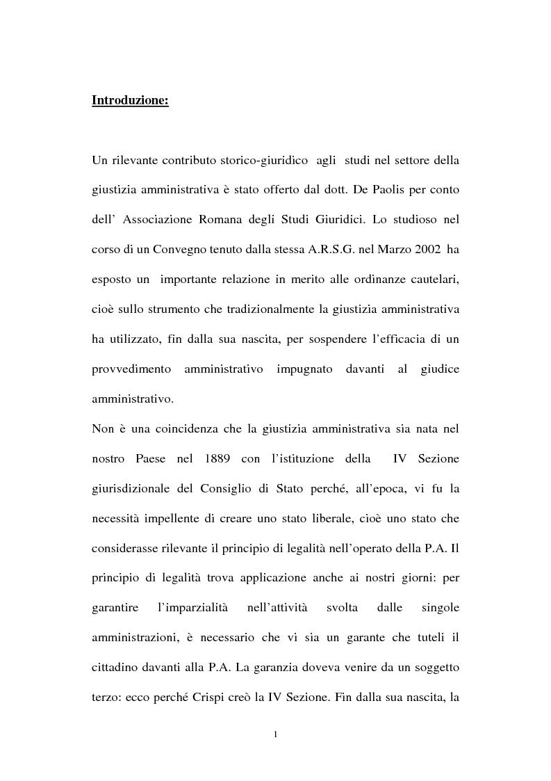 Anteprima della tesi: I provvedimenti cautelari nel nuovo processo amministrativo, Pagina 1