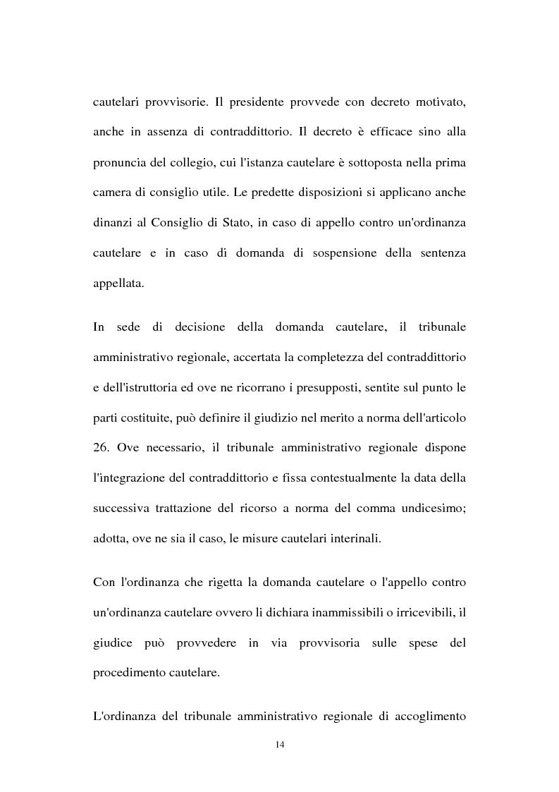 Anteprima della tesi: I provvedimenti cautelari nel nuovo processo amministrativo, Pagina 14