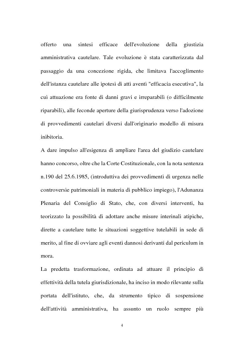 Anteprima della tesi: I provvedimenti cautelari nel nuovo processo amministrativo, Pagina 4