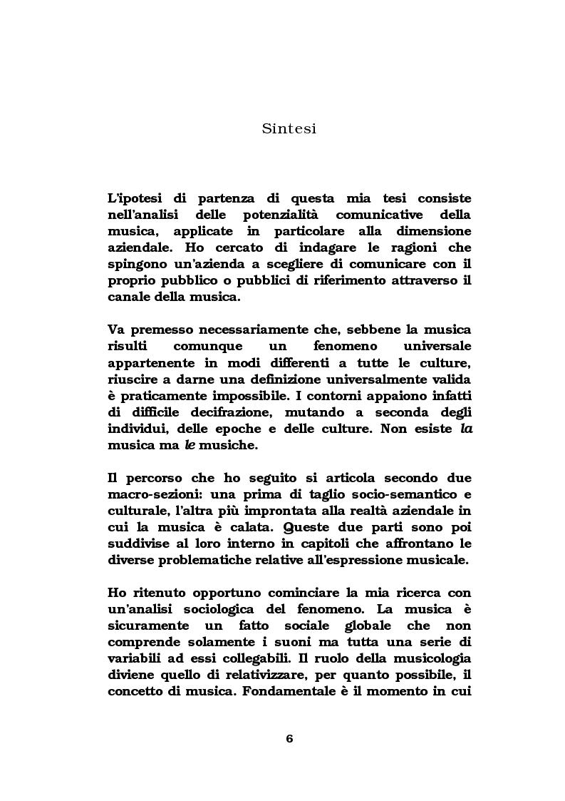 Anteprima della tesi: La musica come strumento di comunicazione aziendale, Pagina 1