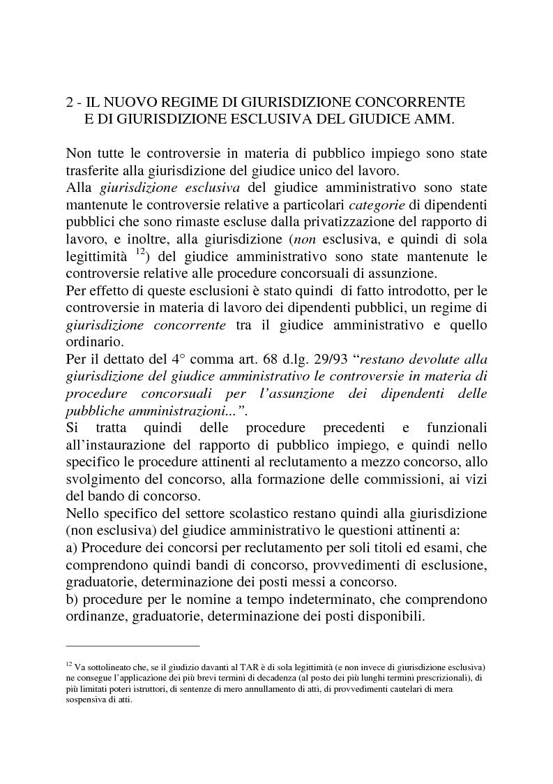 Anteprima della tesi: Gli strumenti di tutela in materia di lavoro nel settore scolastico alla luce della privatizzazione del rapporto di impiego e del trasferimento di giurisdizione al giudice ordinario, Pagina 10