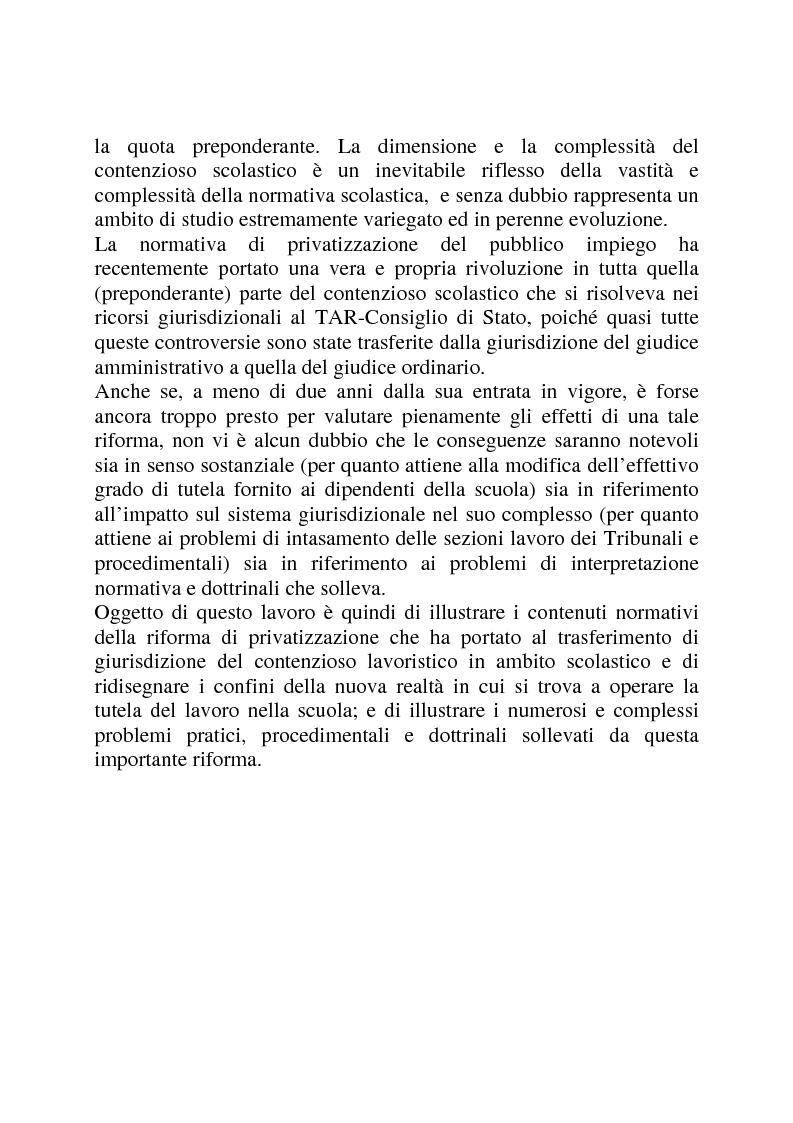 Anteprima della tesi: Gli strumenti di tutela in materia di lavoro nel settore scolastico alla luce della privatizzazione del rapporto di impiego e del trasferimento di giurisdizione al giudice ordinario, Pagina 2