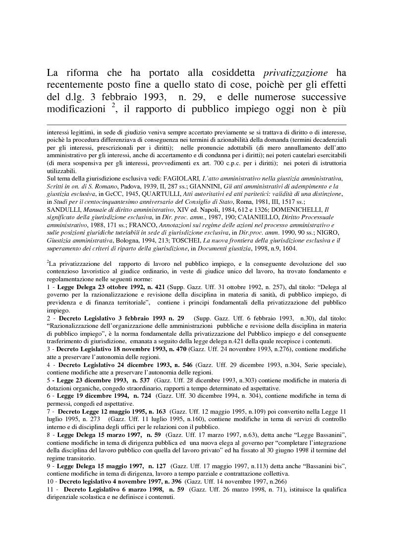 Anteprima della tesi: Gli strumenti di tutela in materia di lavoro nel settore scolastico alla luce della privatizzazione del rapporto di impiego e del trasferimento di giurisdizione al giudice ordinario, Pagina 4