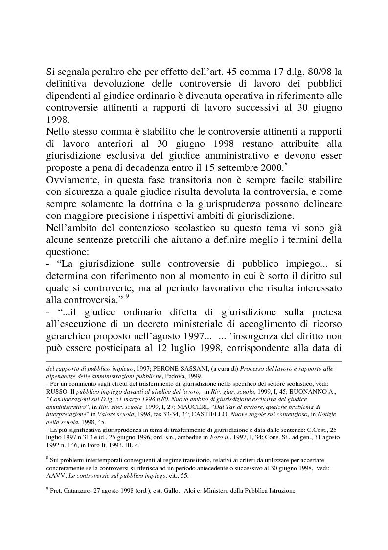 Anteprima della tesi: Gli strumenti di tutela in materia di lavoro nel settore scolastico alla luce della privatizzazione del rapporto di impiego e del trasferimento di giurisdizione al giudice ordinario, Pagina 8