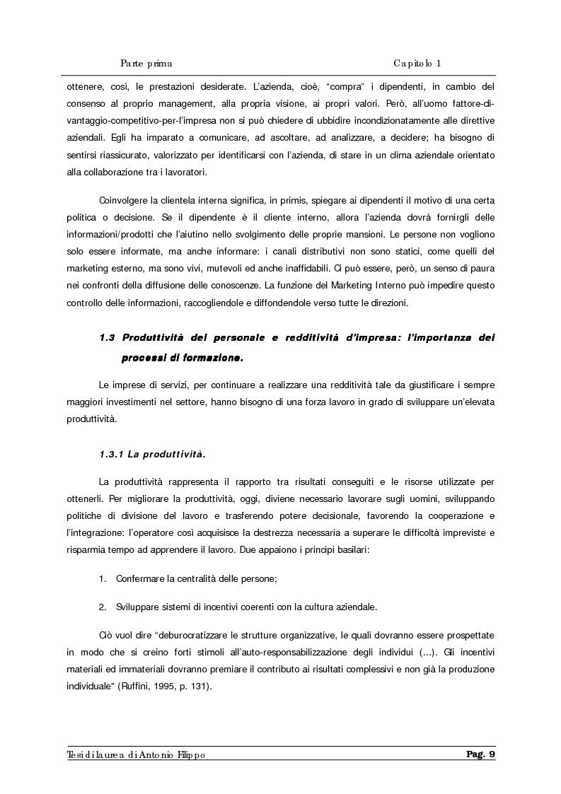 Anteprima della tesi: Le ricerche di marketing interno per la customer satisfaction. Un'indagine empirica sulla Cassa di Risparmio di Calabria e di Lucania., Pagina 11
