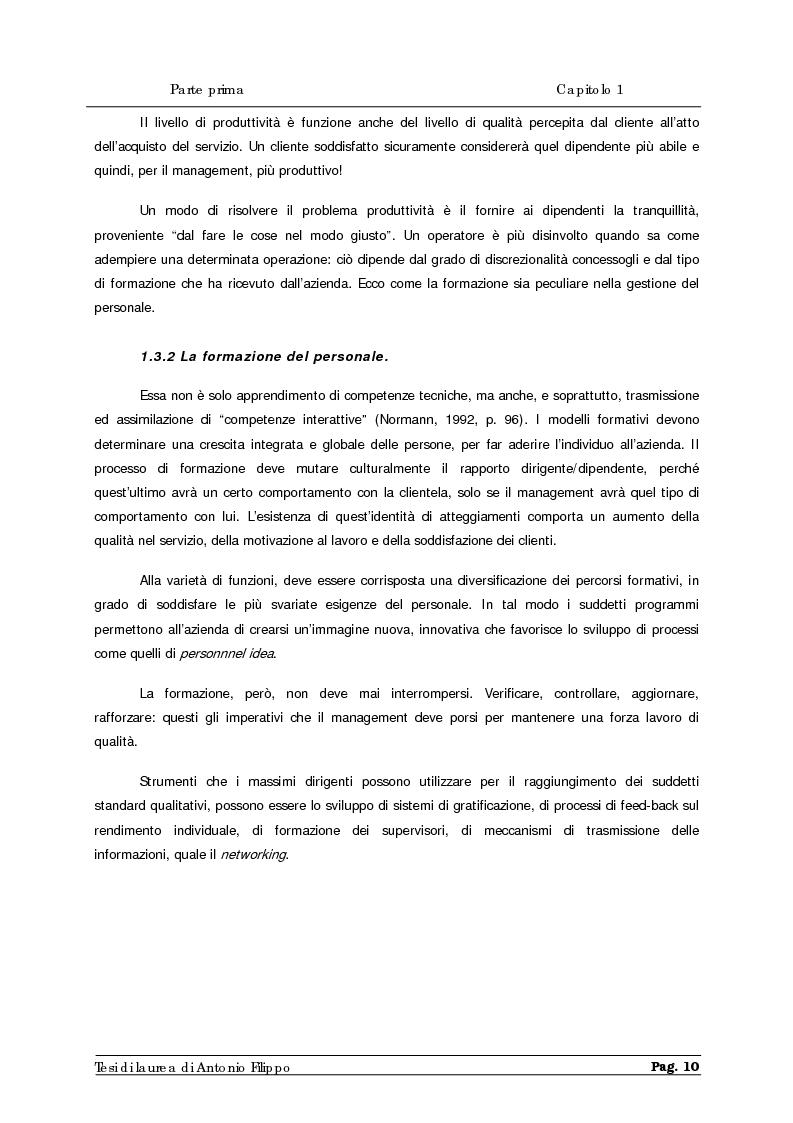 Anteprima della tesi: Le ricerche di marketing interno per la customer satisfaction. Un'indagine empirica sulla Cassa di Risparmio di Calabria e di Lucania., Pagina 12
