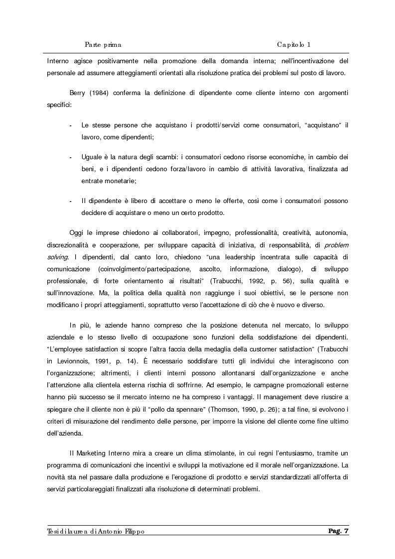 Anteprima della tesi: Le ricerche di marketing interno per la customer satisfaction. Un'indagine empirica sulla Cassa di Risparmio di Calabria e di Lucania., Pagina 9