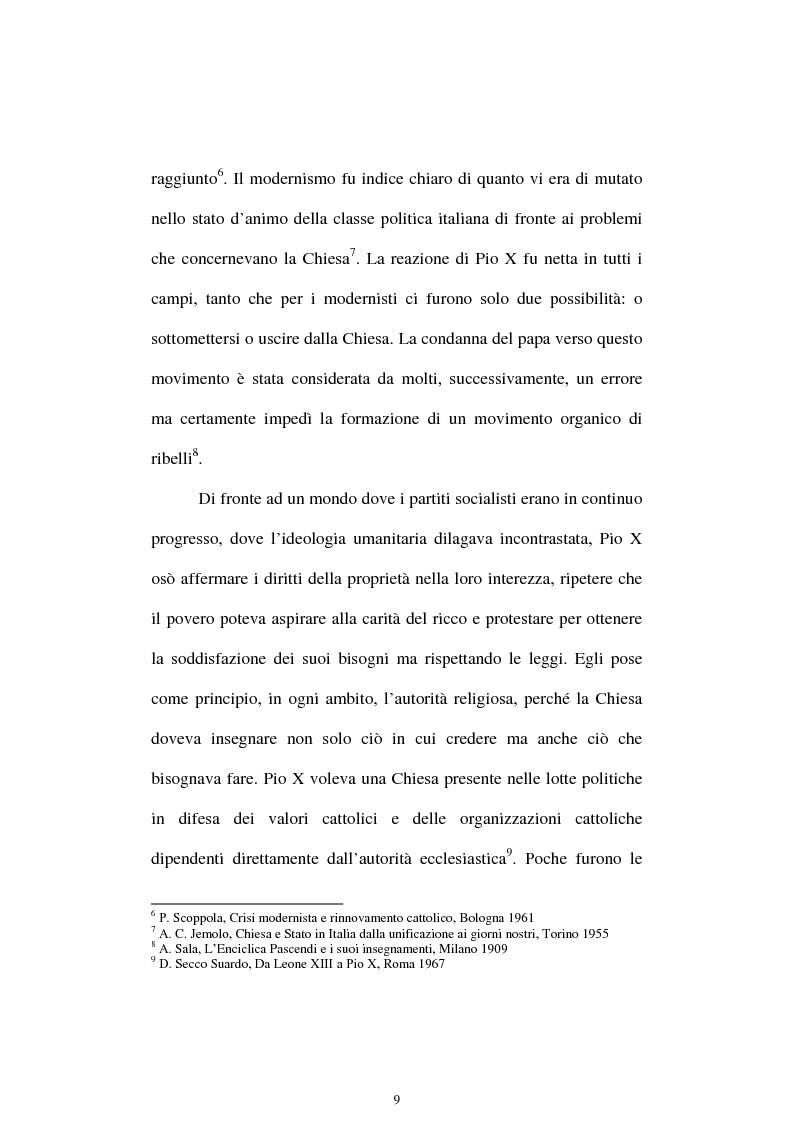Anteprima della tesi: Un quadriennio di Pontificato di Pio X, 1903 - 1907. Un'analisi attraverso l'Osservatore Romano e la Civiltà Cattolica., Pagina 5