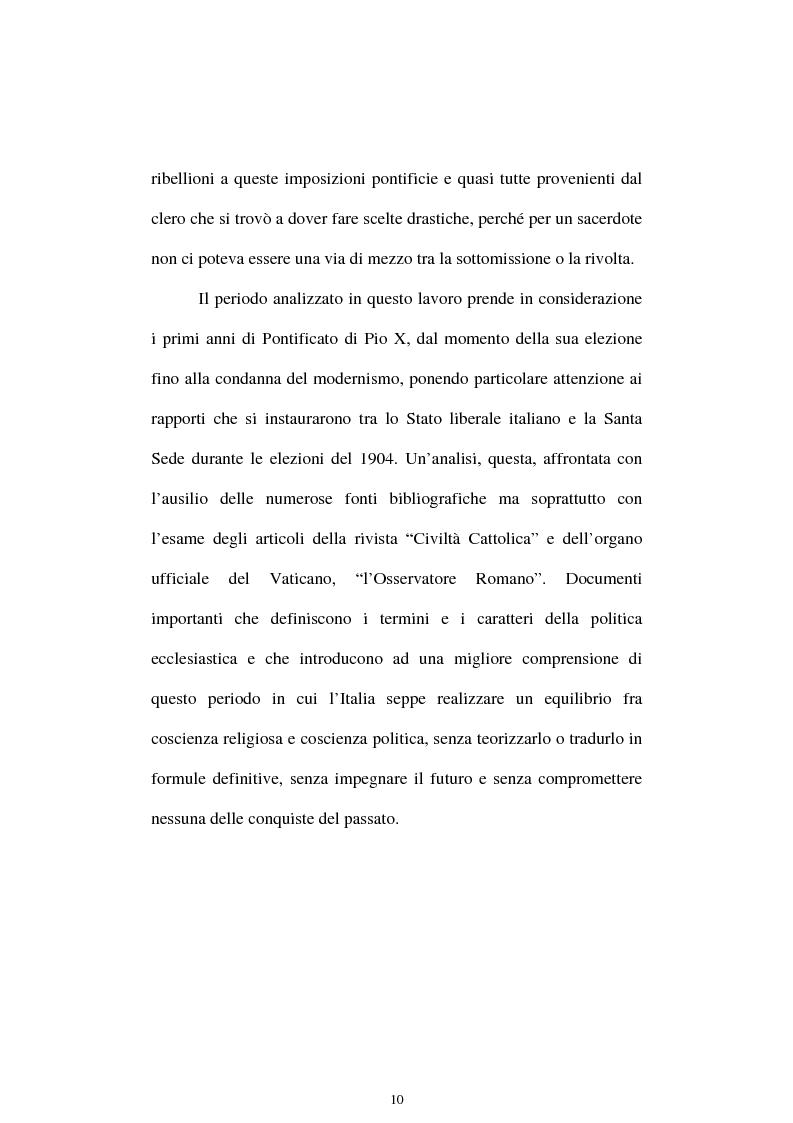 Anteprima della tesi: Un quadriennio di Pontificato di Pio X, 1903 - 1907. Un'analisi attraverso l'Osservatore Romano e la Civiltà Cattolica., Pagina 6