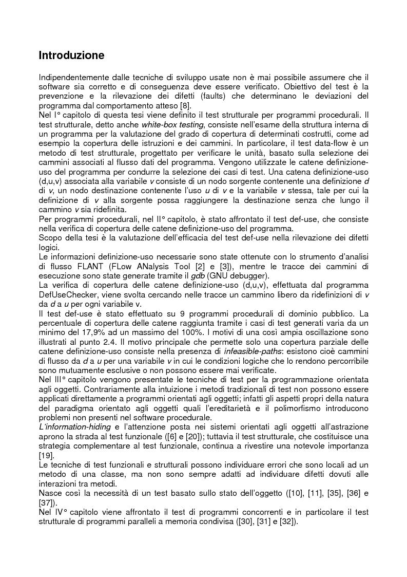 Test strutturale di programmi procedurali e orientati agli oggetti, sequenziali e concorrenti - Tesi di Laurea