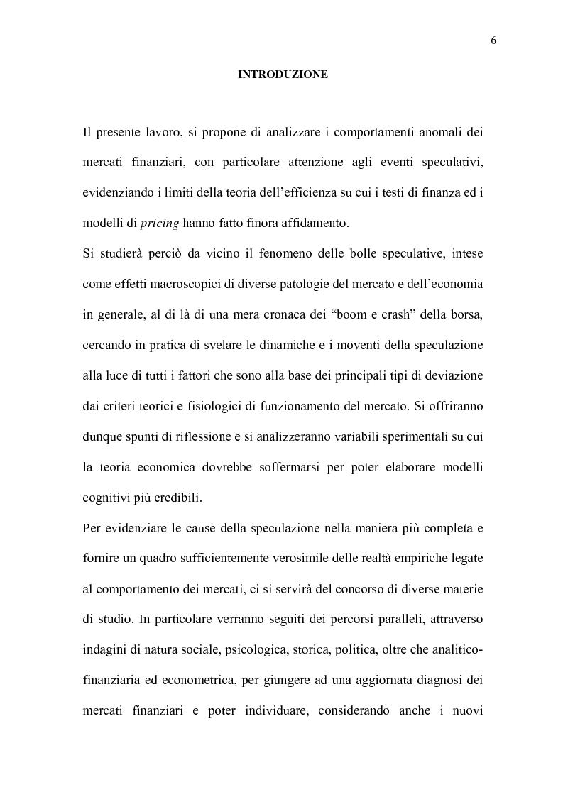 Anteprima della tesi: Mercati efficienti e bolle speculative: cicli economici, finanza e psicologia, Pagina 1