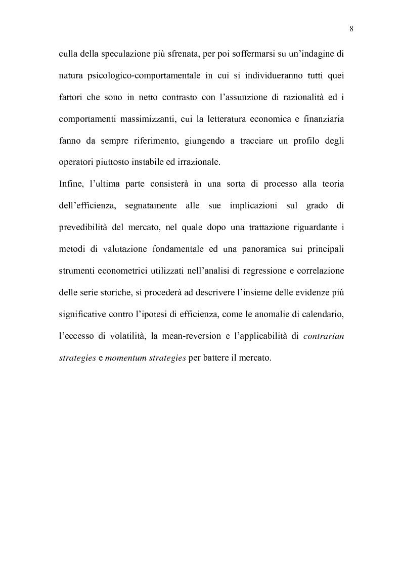 Anteprima della tesi: Mercati efficienti e bolle speculative: cicli economici, finanza e psicologia, Pagina 3