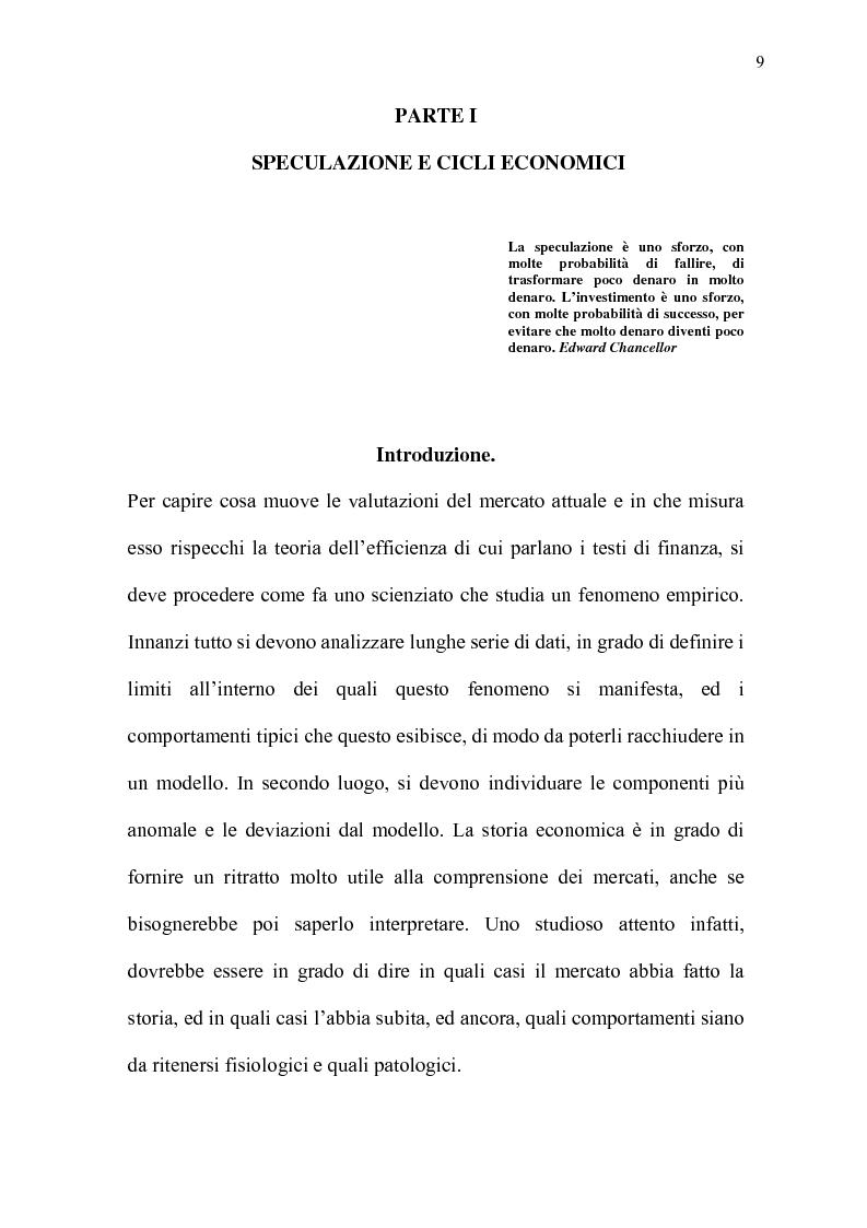 Anteprima della tesi: Mercati efficienti e bolle speculative: cicli economici, finanza e psicologia, Pagina 4