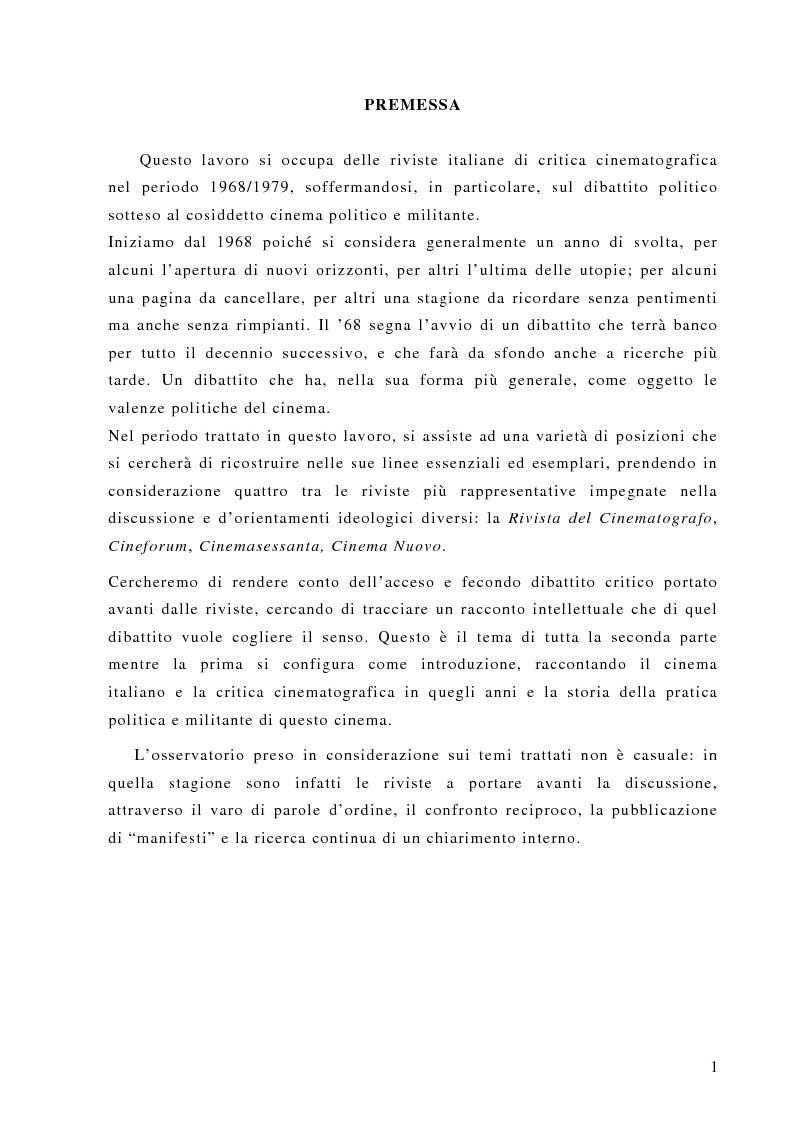 Anteprima della tesi: Politica e militanza: le riviste cinematografiche negli anni Settanta, Pagina 1