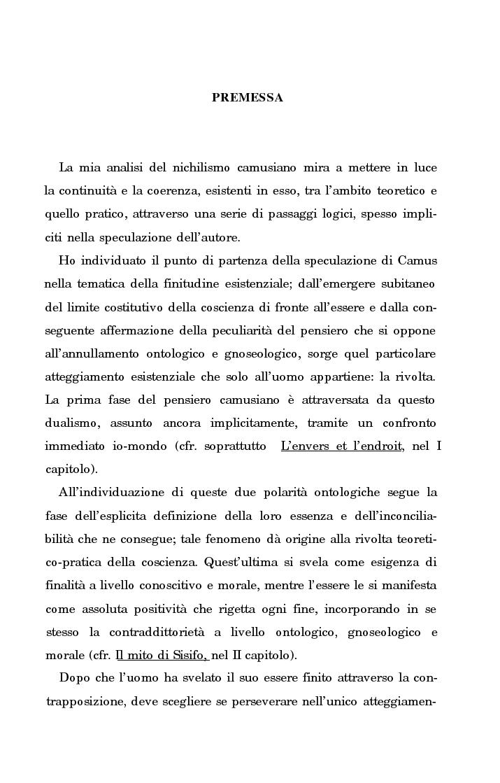 Anteprima della tesi: La rivolta della coscienza e il tentativo di soluzione del nichilismo nel pensiero di Albert Camus, Pagina 1